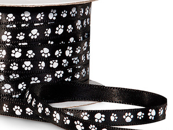 "Black Paw Print Satin Ribbon Single Faced Satin 1/4""x50 yds"