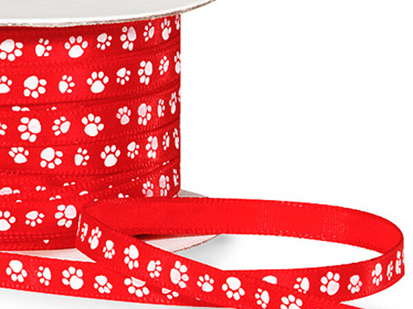 "White Paw Print on Red Satin Ribbon, 1/4""x50 yards"