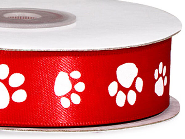 "Red Paw Print Satin Ribbon Single Faced Satin 7/8""x25 yds"