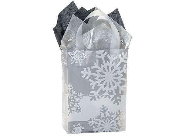 "Snowflake Flurry Plastic Gift Bags, Cub 8x4x10"", 200 Pack, 4 mil"