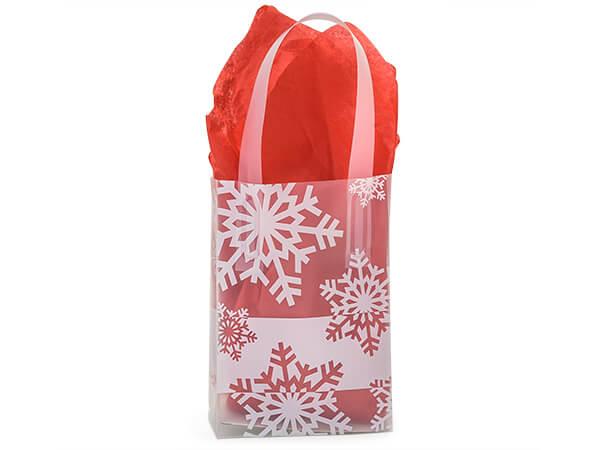 Snowflake Flurry Plastic Gift Bags, Jewel 4x2x5.25, 200 Pack, 4 mil