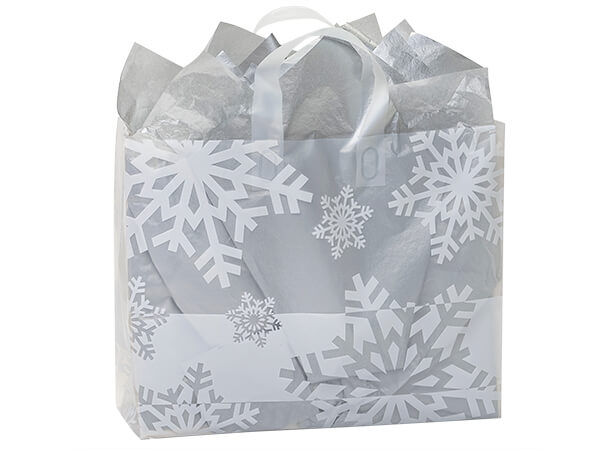 "Snowflake Flurry Plastic Gift Bags, Vogue 16x6x12"", 100 Pack"