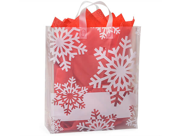 """Snowflake Flurry Plastic Gift Bags, Queen 16x6x18"""", 25 Pack"""
