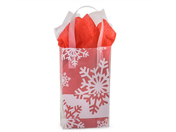 """Snowflake Flurry Plastic Gift Bags, Rose 5.25x3.25x8.5"""", 25 Pack"""