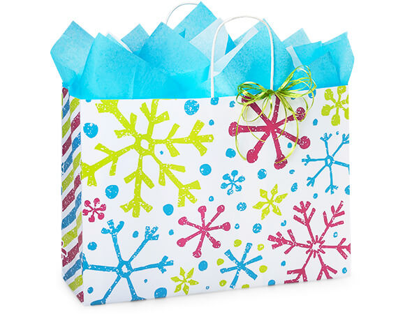 "*Vogue Snowflake Jubilee Paper Bags 250 16x6x12"""