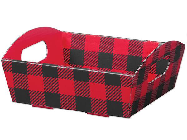 Buffalo Plaid Small Shallow Folding Market Tray