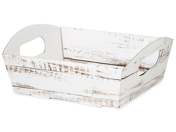 Distressed Wood Shallow Folding Market Tray