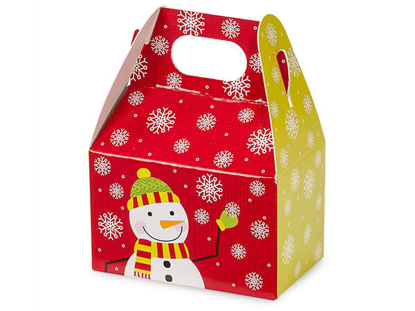 "*Snowflake Snowman Mini Gable Boxes, 4x2.5x2.5"", 6 Pack"