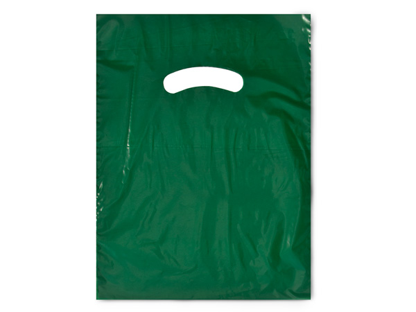 "Dark Green Super Gloss Bags 9x12"" Recycled Plastic Bags 1.25 mil"