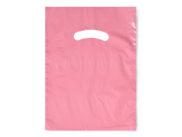 "Dusty Rose Super Gloss Bags 9x12"" Recycled Plastic Bags 1.25 mil"