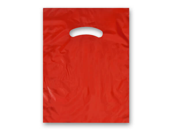 """Red Super Gloss Bags 9x12"""" Recycled Plastic Bags 1.25 mil"""