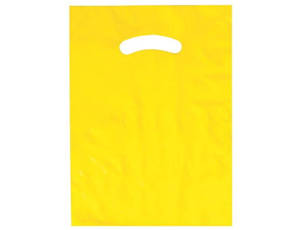 "Yellow Super Gloss Bags 9x12"" Recycled Plastic Bags 1.25 mil"