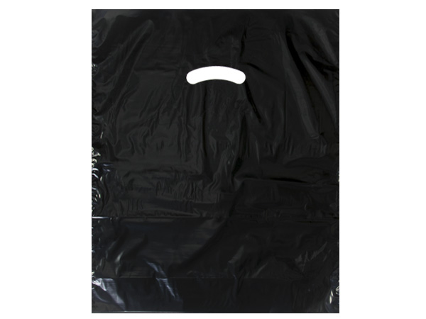 "Black Super Gloss Bags 12x15"" Recycled Plastic Bags 1.25 mil"