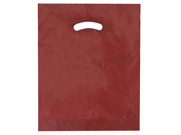 "Burgundy Super Gloss Bags 12x15"" Recycled Plastic Bags 1.25 mil"