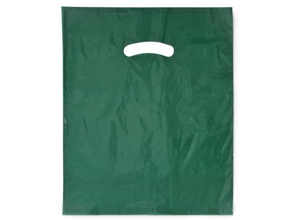 Dark Green Super Gloss Bags 12x15 Recycled Plastic Bags 1.25 mil