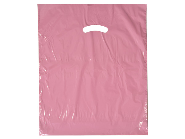"Dusty Rose Super Gloss Bag 12x15"" Recycled Plastic Bags 1.25 mil"