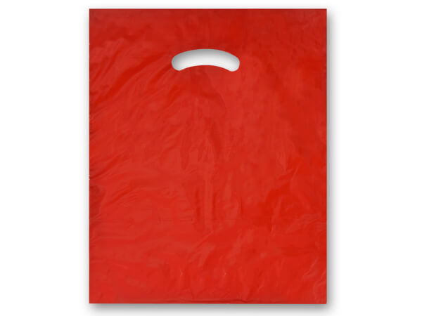 """Red Super Gloss Bags 12x15"""" Recycled Plastic Bags 1.25 mil"""