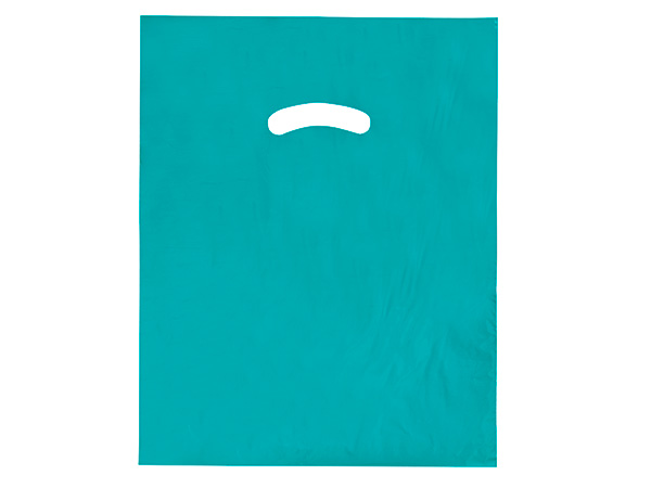 """Teal Super Gloss Bags 12x15"""" Recycled Plastic Bags 1.25 mil"""