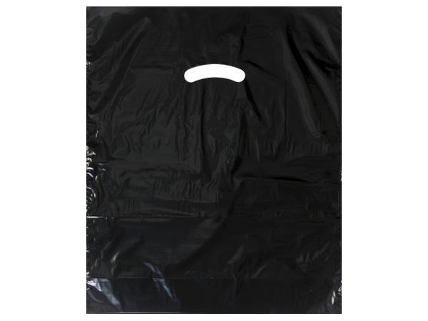 "Black Super Gloss Bags 15x18x4"" Recycled Plastic Bags 1.25 mil"