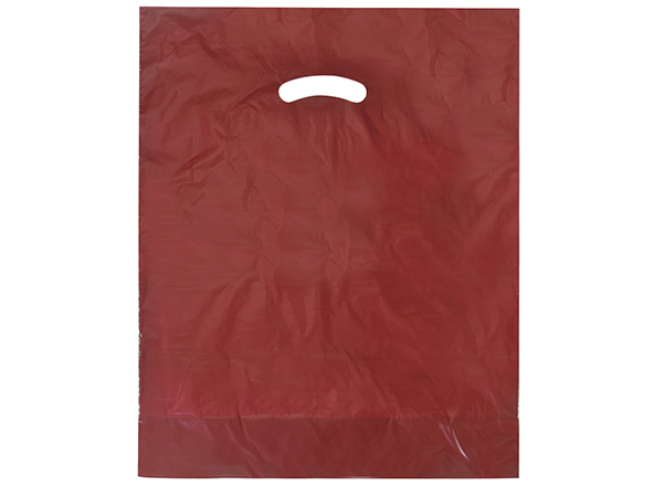 "Burgundy Super Gloss Bags 15x18x4"" Recycled Plastic Bags 1.25 mil"