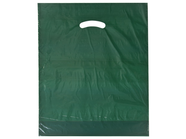 "Dark Green Super Gloss Bag 15x18x4"" Recycled Plastic Bags 1.25 mil"