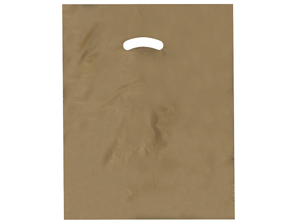 "Gold Super Gloss Bags 15x18x4"" Recycled Plastic Bags 1.25 mil"