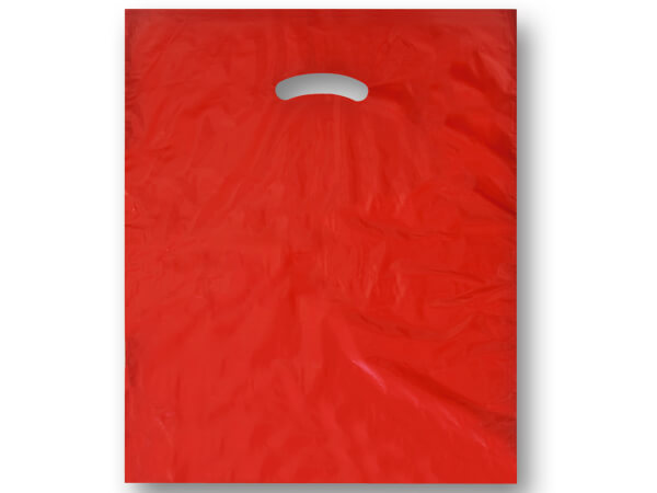 "Red Super Gloss Bags 15x18x4"" Recycled Plastic Bags 1.25 mil"