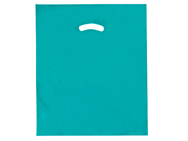 "Teal Super Gloss Bags 15x18x4"" Recycled Plastic Bags 1.25 mil"