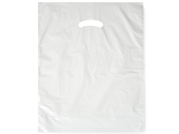 "White Super Gloss Bags 15x18x4"" Recycled Plastic Bags 1.25 mil"