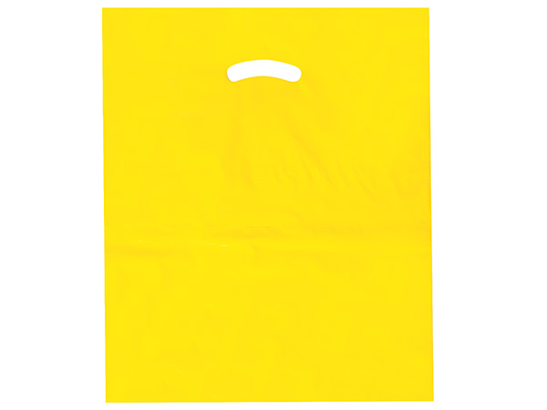 """Yellow Super Gloss Bags 15x18x4"""" Recycled Plastic Bags 1.25 mil"""