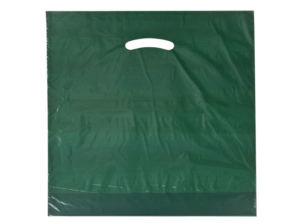 "Dark Green Super Gloss Bag 20x20x5"" Recycled Plastic Bags 1.50 mil"