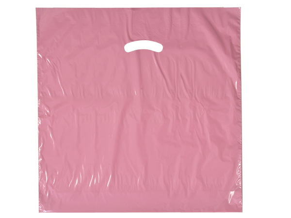 "Dusty Rose Super Gloss Bag 20x20x5"" Recycled Plastic Bags 1.50 mil"