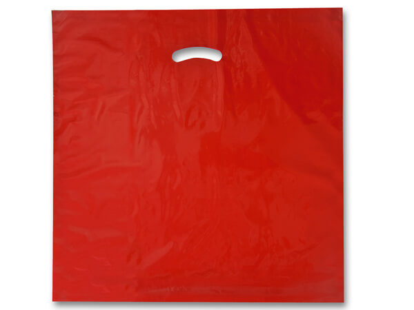 """Red Super Gloss Bags 20x20x5"""" Recycled Plastic Bags 1.50 mil"""