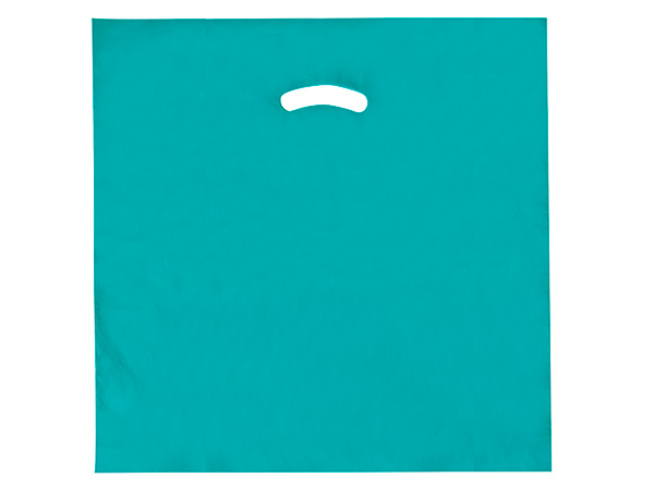 """Teal Super Gloss Bags 20x20x5"""" Recycled Plastic Bags 1.50 mil"""