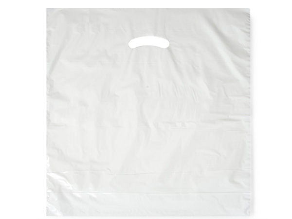 """White Super Gloss Bags 20x20x5"""" Recycled Plastic Bags 1.50 mil"""