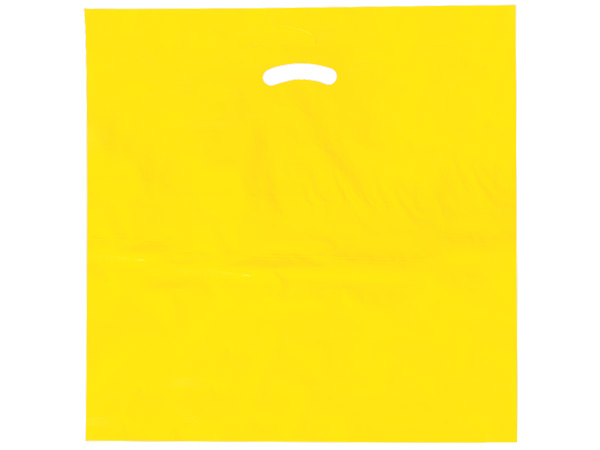 """Yellow Super Gloss Bags 20x20x5"""" Recycled Plastic Bags 1.50 mil"""