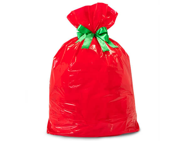 "Red Plastic Gift Sacks, 2 mil thick Jumbo 24x6x42"", 10 pack"