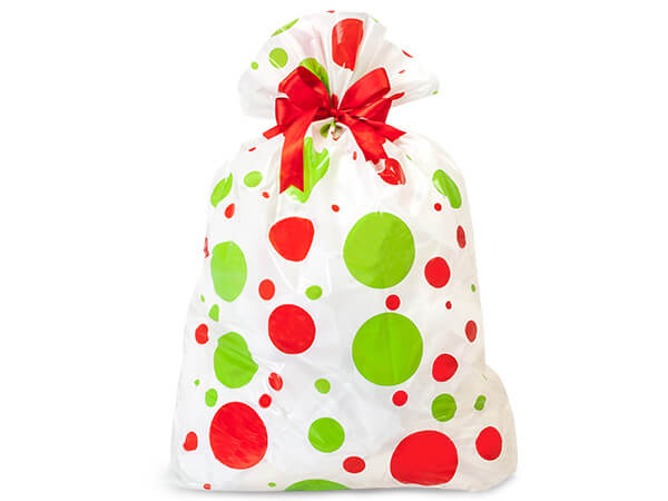 "Holiday Dots Plastic Sacks 24x6x42"" 10 Pack"