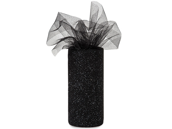 "*Black with Silver Glitter Tulle Ribbon, 6""x25 yards"
