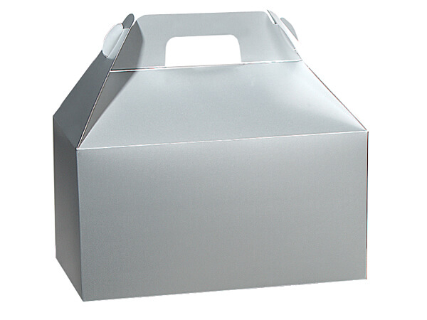 "Silver Gloss Gable Boxes, 8-1/2x4-3/4x5-1/2"", Pack 6"