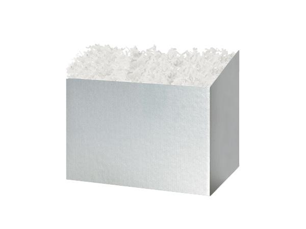 "Metallic Silver Basket Box, Small 6.75x4x5"", 6 Pack"
