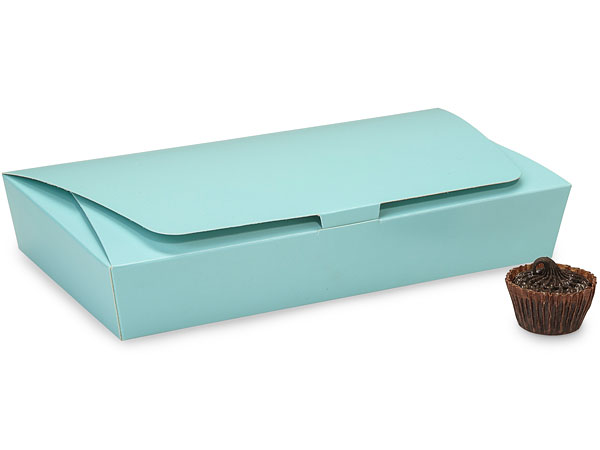 Aqua 1/2 lb. Single Layer Tapered Candy Box, 7.5x4x1""