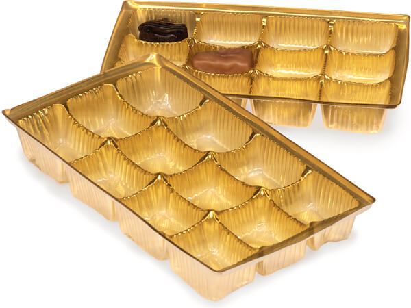 """100 8x4-1/4x1"""" Gold Candy Trays"""