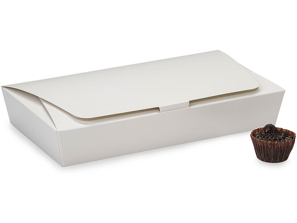 White 1/2 lb. Single Layer Tapered Candy Box, 7.5x4x1""