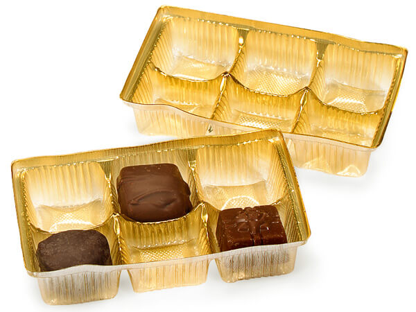 "Gold Candy Trays, 5x2-3/4x1"", 100 pack"