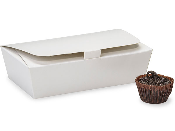 White 1/4 lb. Single Layer Tapered Candy Box, 4.5x2.5x1""