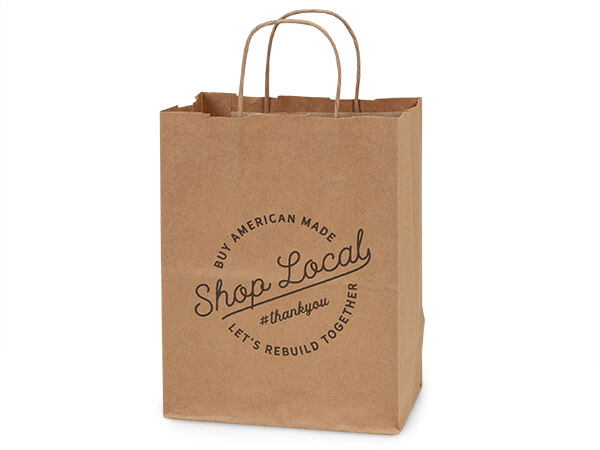 "Shop Local Kraft Gift Bags Cub 8x4.75x10.25"", 25 pack"