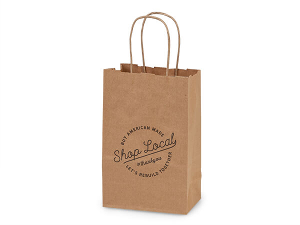 "*Shop Local Kraft Gift Bags Rose 5.5x3.25x8.25"", 25 pack"