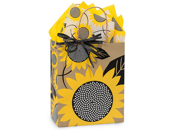"Sunflower Fields Paper Shopping Bags, Cub 8x4.75x10.25"", 25 Pack"