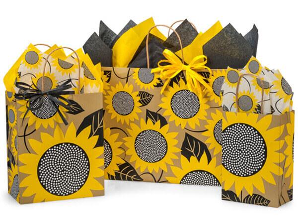 Sunflower Fields Paper Shopping Bags, Small 25 Pack Assortment